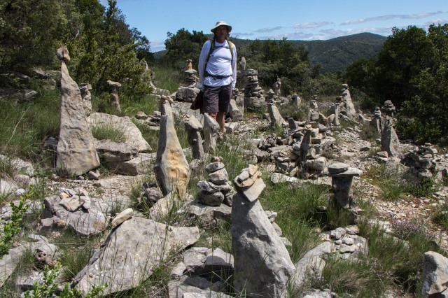 stacked stones at top of ridge