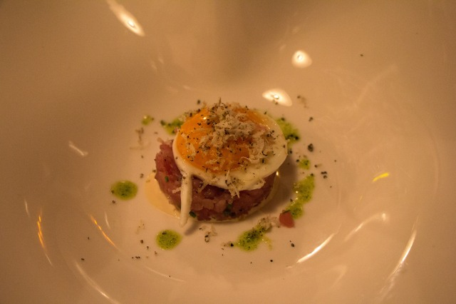 Tuna Tartar with Egg and Cheese Fondu