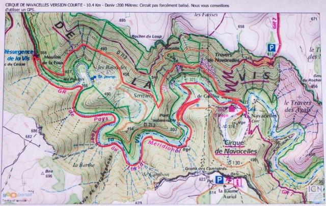 Cirque de Navacelles hiking map
