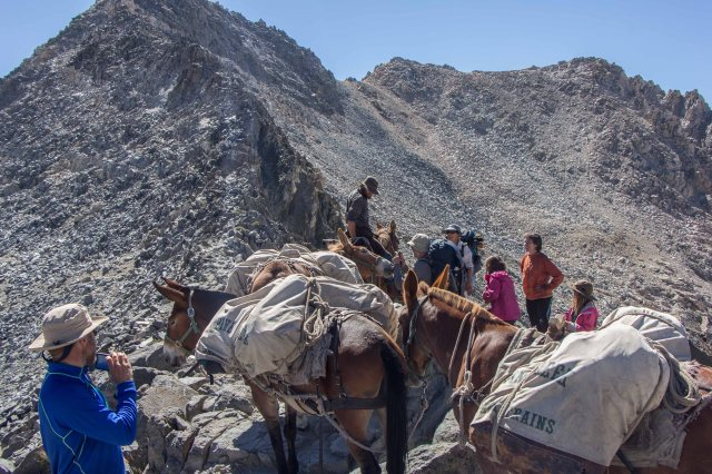 JMT - Horses Pass Hikers Hanging Out at Glen Pass