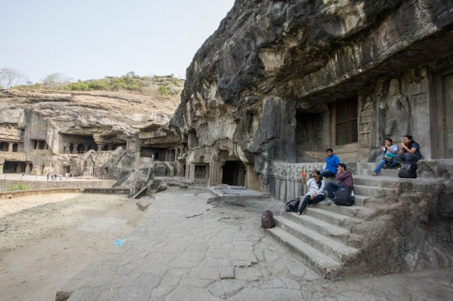 Ellora Caves - outside Buddhist caves 1 - 6