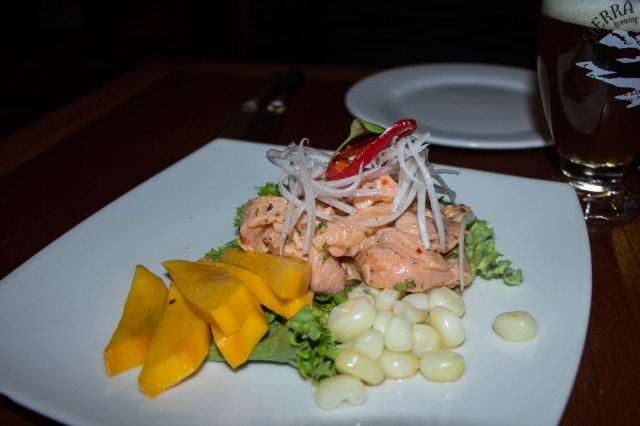 trout ceviche - served with mango and choclo (a type of corn)