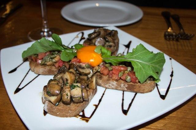 bruschetta - tomato and capers, mushrooms