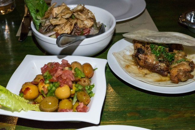 fattoush, olive salad, chicken wings
