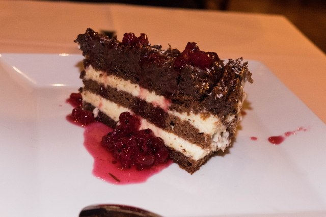 Taverna To Patriko Mas - Chocolate Cake with Red Current Sauce