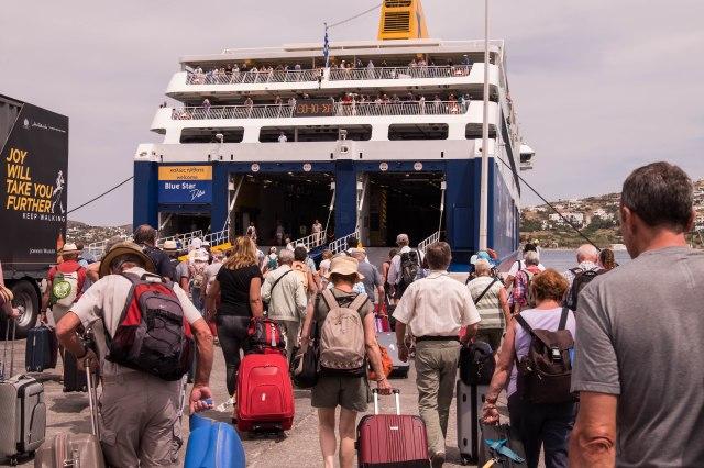 Boarding Blue Star Ferry in Paros
